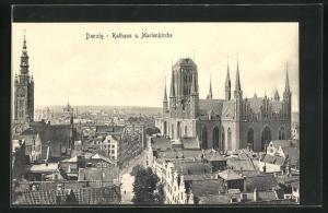 AK Danzig / Gdansk, Rathaus und Marienkirche