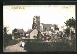 AK Godshill, Church, Partie an der Kirche