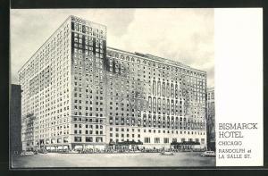 AK Chicago, IL, Bismarck Hotel, Randolph at La Salle St.
