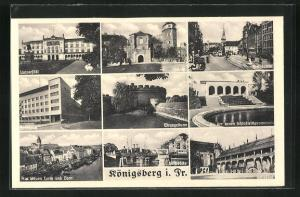 AK Königsberg, Universität, Wrangelturm, Steindamm, Schloss