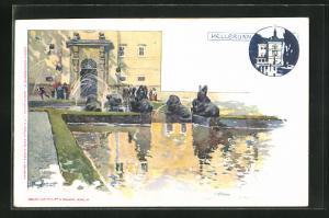 Künstler-AK Hellbrunn, Spaziergänger an der Brunnenanlage