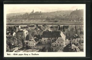 AK Wels, Blick gegen Burg und Thalheim