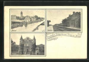 AK Vitry-en-Artois, Scarpe, Bahnhof, Schloss