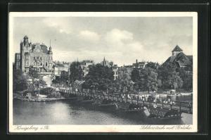 AK Königsburg, Schlossteich mit Brücke