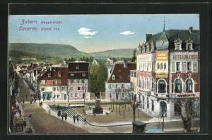AK Zabern, Hauptstrasse mit Passanten