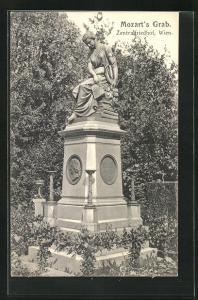 AK Wien, Mozart`s Grab auf dem Zentralfriedhof