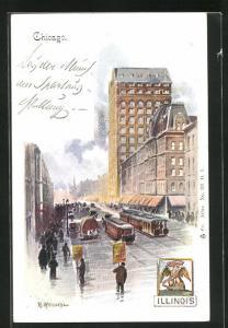 Künstler-AK Chicago, IL, Tram and Shops in a Street