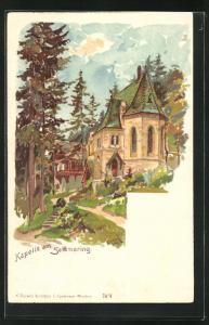 Lithographie Semmering, Kapelle im Sommer