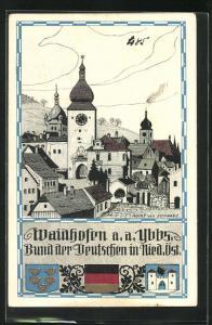 Künstler-AK Waidhofen a.a. Ybbs, Gesamtansicht
