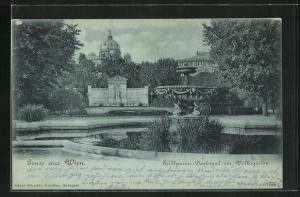 Mondschein-AK Wien, Grillparzer-Denkmal im Volksgarten