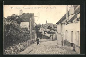 AK Pontoise, Panorama pris de la rue St-Martin, L` Église St- Maclou