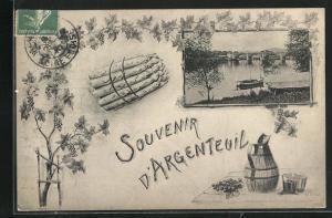 AK Argenteuil, Flussufer mit Brücke, Spargel, Weinreben