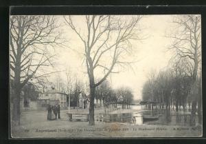 AK Argenteuil, Les Inondations 1910, Le Boulevard Heloise