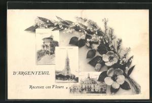 Passepartout-AK Argenteuil, Recevez ces Fleurs, Basilika, Turm, Strassenpartie mit Gebäudeansicht