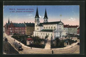 AK Wien, Ortspartie mit Keplerplatz und Kirche z. hl. Johannes der Evangelist, Strassenbahn