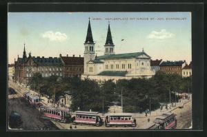 AK Wien, Blick über den Keplerplatz aus der Vogelschau. Kirche St. Joh. Evangelist, Strassenbahn