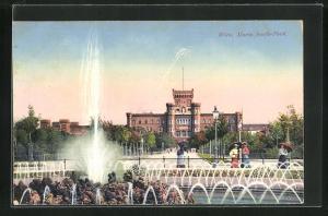 AK Wien, Blick auf Springbrunnen im Maria Josefa-Park