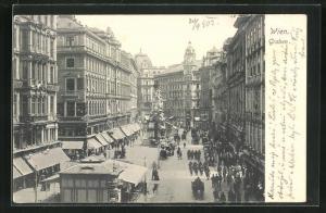 AK Wien, Partie am Graben mit Blick zur Pestsäule