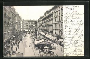 AK Wien, Graben mit Blick zum Josefsbrunnen und Pestsäule