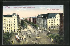 AK Wien, Schottenring aus der Vogelschau mit Wiener Bank-Verein, Strassenbahn