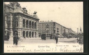 AK Wien, Blick in den Kärntner-Ring mit K.K. Hof-Opern-Theater, Strassenbahn