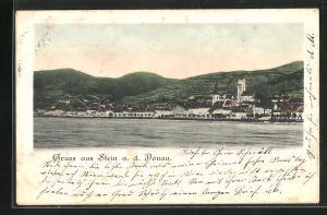 AK Stein a. d. Donau, Blick von der Donau auf die Ortschaft