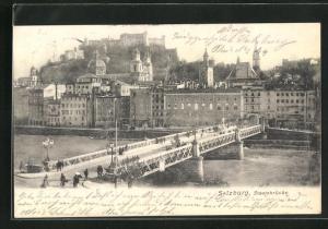 AK Salzburg, Teilansicht mit Staatsbrücke und Schloss