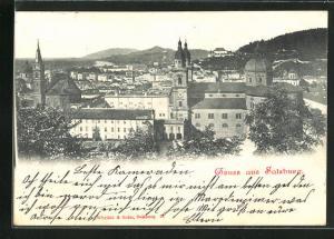 AK Salzburg, Panorama mit Schloss