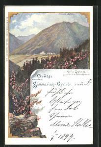 Lithographie Maria Schutz, Blick von der Ruine Klamm