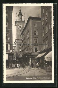 AK Salzburg, alter Markt mit Rathaus