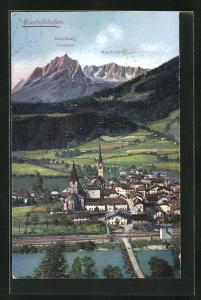 AK Bischofshofen, Panorama mit Mandlwände, Torsäule und Hochkönig
