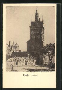 Künstler-AK Danzig / Gdansk, Blick auf den Stockturm