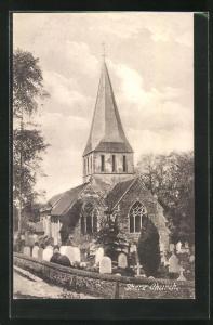AK Shere, Church, Kirche mit Friedhof