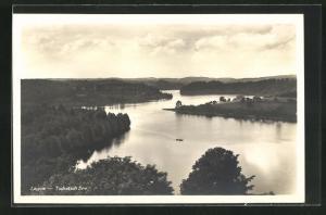 AK Lagow, Blick auf den Tschetsch-See aus der Vogelschau
