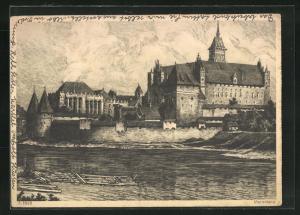 Künstler-AK Marienburg / Malbork, Blick zur Burg