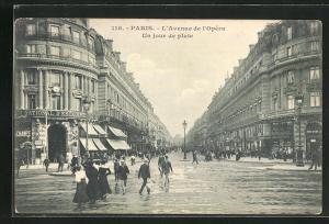 AK Paris, L` Avenue de l` Opéra, Un jour de pluie