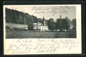 AK Hallwang, Partie mit Kirche und Waldrand