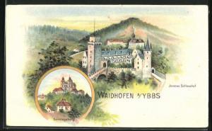 Lithographie Waidhofen a. Ybbs, Innerer Schlosshof & Sonntagsberg