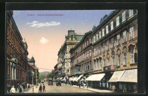 AK Wien, Währingerstrasse mit Strassenbahn