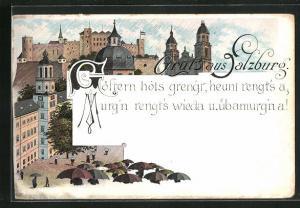 Lithographie Salzburg, Goestern hots grengt, heunt rengt`s a..., Stadtblick bei Regenwetter