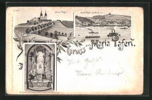 Lithographie Maria Taferl, Panorama mit Marbach und Gnaden-Altar