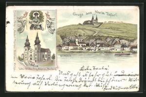 Lithographie Maria Taferl, Ortsansicht mit Marbach, Kirche