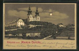 Mondschein-Lithographie Maria-Taferl, Teilansicht