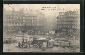 AK Paris, Crue de la Seine, Janvier 1910, Cour du Havre et Rue du Havre