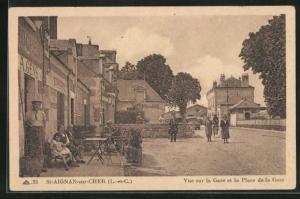 AK St. Aignan-sur-Cher, Vue sur la Gare et la Place de la Gare