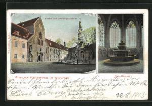 AK Heiligenkreuz im Wienerwald, Kirche und Dreifaltigkeitsäule, Blei-Brunnen