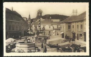 AK Mödling, Geschäfte und Denkmal am Markt