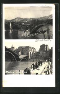 AK Maribor / Marburg, zwei eingestürzte Flussbrücken