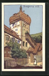 AK Bregenz, Bäuerin vor dem Martinsturm