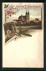 Lithographie Maria Dreieichen, Blick zur Kirche, Kreuz mit Bründle